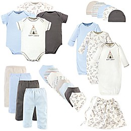 Touched by Nature Size 0-6M 25-Piece Organic Cotton Teepee Layette Set in Blue/White