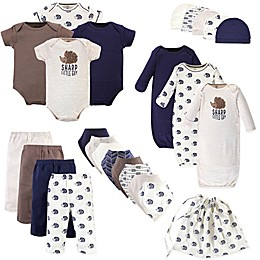Touched by Nature Size 0-6M 25-Piece Hedgehog Organic Cotton Layette Gift Set in Beige