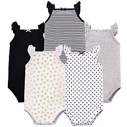 Hudson Baby® 5-Pack Sleeveless Bodysuits in Black/Gold