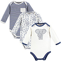 Touched by Nature Preemie 3-Pack Elephant Long Sleeve Organic Cotton Bodysuits in Blue