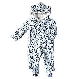 Modern Baby Bear Print Plush Hooded Bodysuit in Blue