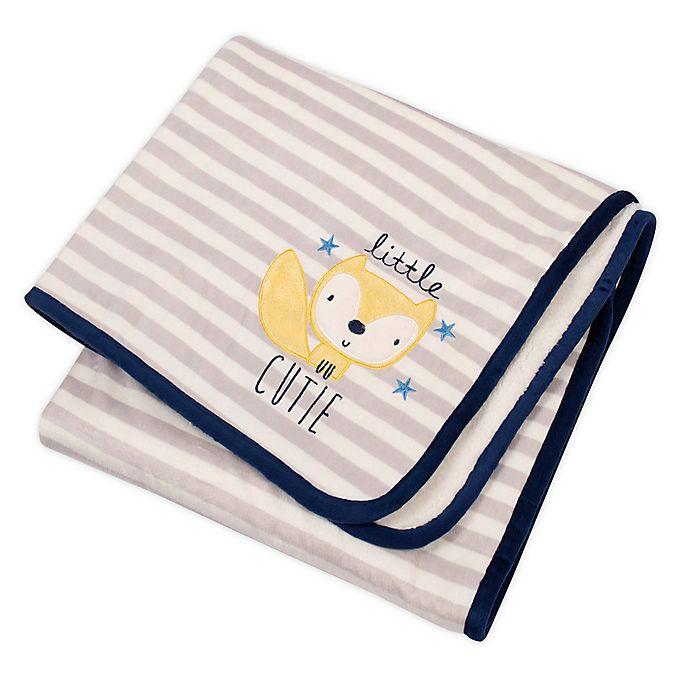Alternate image 1 for Gerber® Striped Fox Plush Blanket in Grey