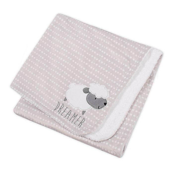 Alternate image 1 for Gerber® Lamb Appliqued Plush Blanket in Grey