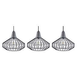 Southern Enterprses Brinland Pendant Lamp with Cage Style Metal Shade (Set of 3)
