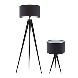 Southern Enterprises© Trix Tripod Table Lamp in Black with Fabric Shade (Set of 2)