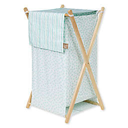 Trend Lab Taylor Laundry Hamper in Aqua/White