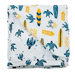 Bebe Au Lait® Surf & Sea Turtle Luxury Stroller Blanket in Blue/Yellow