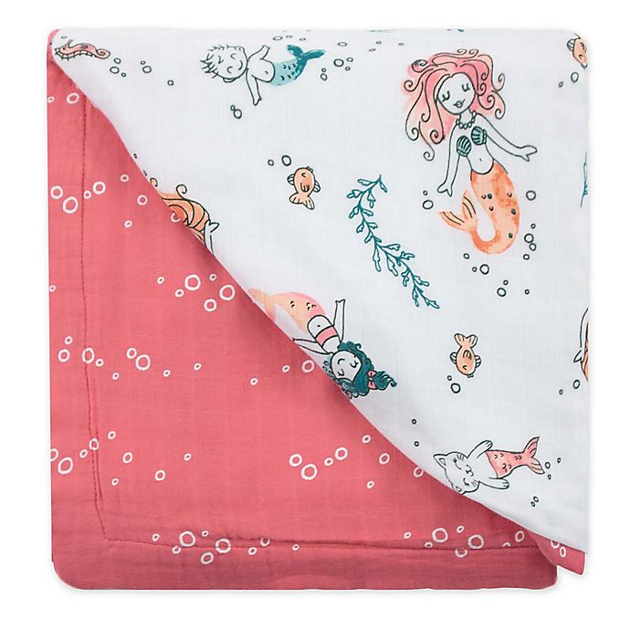Alternate image 1 for Bebe Au Lait® Mermaids and Bubbles Luxury Stroller Blanket in Pink/White