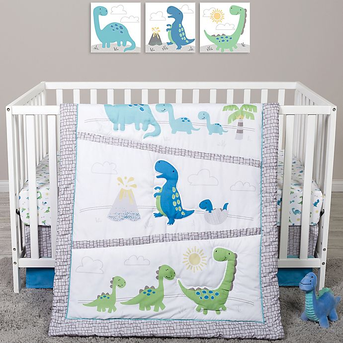 Alternate image 1 for Sammy & Lou 4-Piece Dinosaur Pals Crib Bedding Set