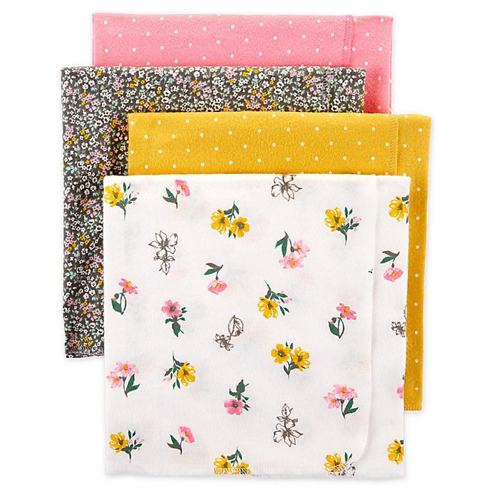 Alternate image 1 for carter's® 4-Pack Floral Receiving Blankets in Yellow/Pink