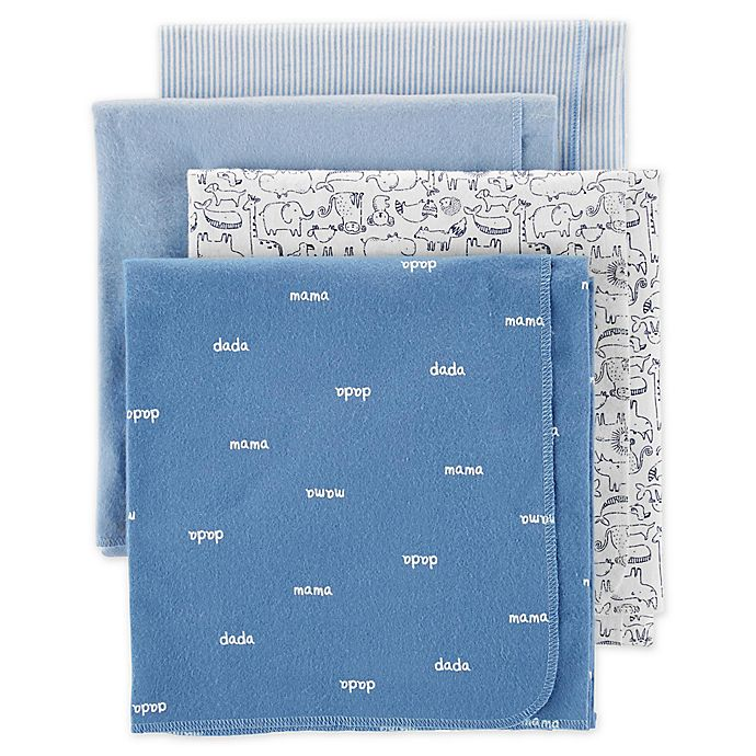 Alternate image 1 for carter's® 4-Pack Animal Receiving Blankets in Blue/White