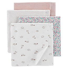 carter's® 4-Pack Animal Receiving Blankets in White/Pink