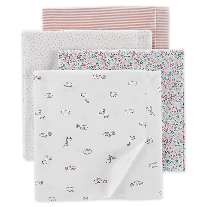 Alternate image 1 for carter's® 4-Pack Animal Receiving Blankets in White/Pink
