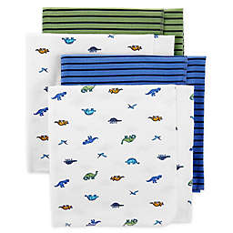 carter's® 4-Pack Dinosaur Receiving Blankets in Blue/Green