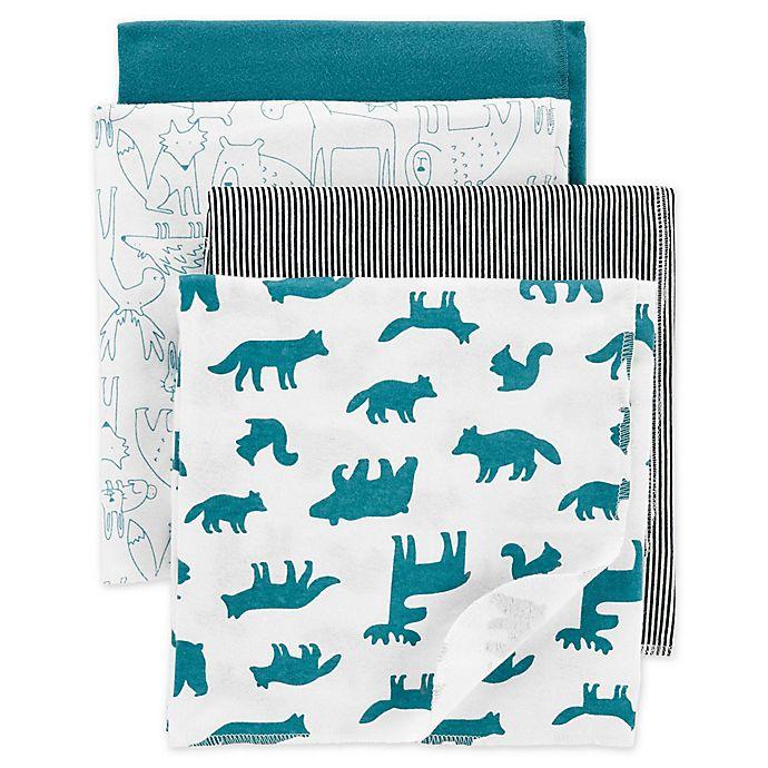 Alternate image 1 for carter's® 4-Pack Animal Receiving Blankets in Blue