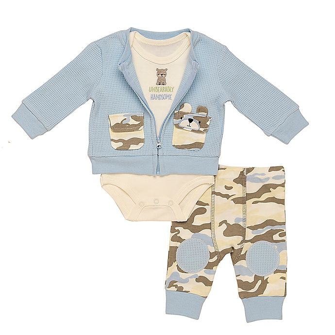 Alternate image 1 for Baby Starters® 3-Piece Bear Camo Bodysuit, Cardigan, and Pant Set
