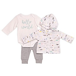 "Baby Starters® 3-Piece Cloud Cardigan, ""Hello World"" Bodysuit, and Pant Set"