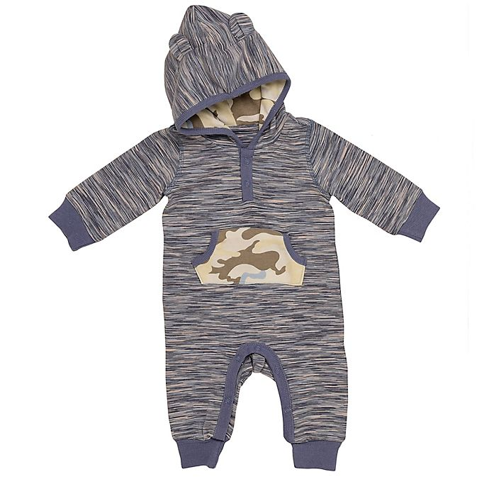 Alternate image 1 for Baby Starters® Space Dye Hooded Coverall in Blue