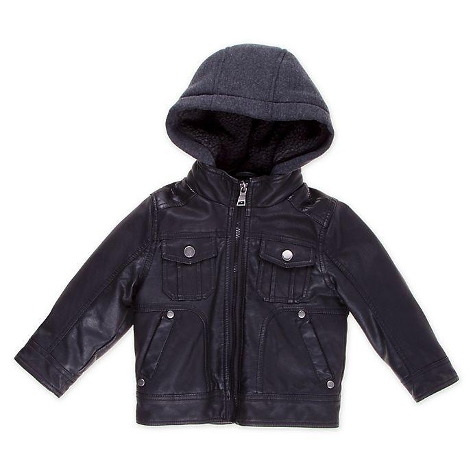 Alternate image 1 for Urban Republic Faux Leather Toddler Biker Jacket in Black