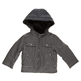 Urban Republic Textured Faux Leather Jacket in Charcoal