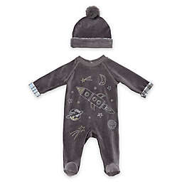 Baby Starters® 2-Piece Space Velour Coverall and Hat Set in Grey