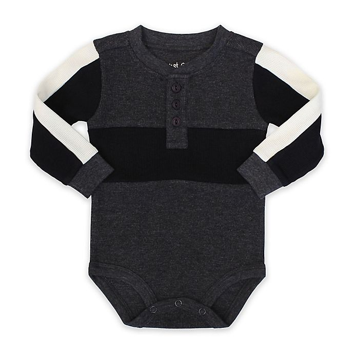 Alternate image 1 for Planet Cotton® Long Sleeve Thermal Bodysuit in Charcoal