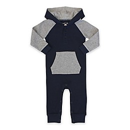 Planet Cotton® Hooded Raglan Coverall in Grey/Navy
