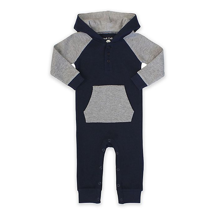 Alternate image 1 for Planet Cotton® Hooded Raglan Coverall in Grey/Navy