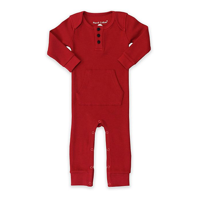 Alternate image 1 for Planet Cotton® Cotton Thermal Coverall in Red