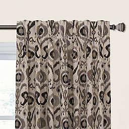 Holiday Ikat 108-Inch Pinch Pleat Room Darkening Window Curtain Panel in Graphite (Single)