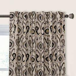 Holiday Ikat 108-Inch Rod Pocket/Back Tab Room Darkening Window Curtain Panel in Graphite