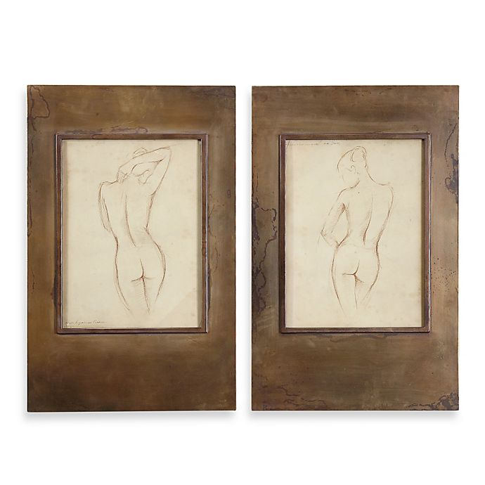 "Uttermost ""Bronze Figures"" Framed Art (Set of 2) 