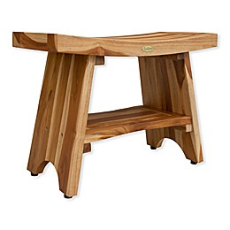 EcoDecors™ Serenity 24-Inch Teak Shower Bench with Shelf in Natural