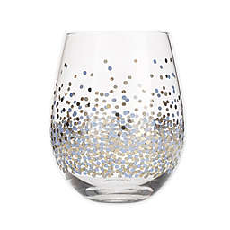 Table Art Confetti Stemless Wine Glasses in Blue (Set of 4)