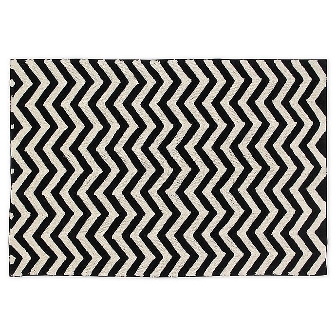 Alternate image 1 for Lorena Canals Zig Zag Hand Knotted Rug in Black/Natural