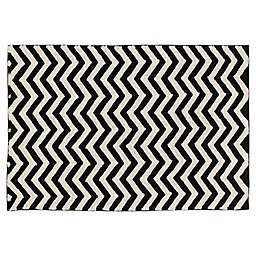 Lorena Canals Zig Zag Hand Knotted Rug in Black/Natural