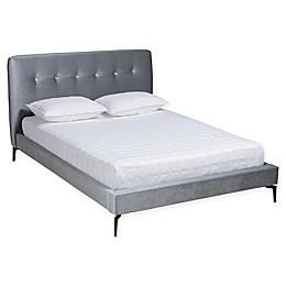 Baxton Studio® Lavern Velvet Tufted Queen Platform Bed in Silver