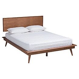 Baxton Studio Brandie Wood Platform Bed in Walnut Brown