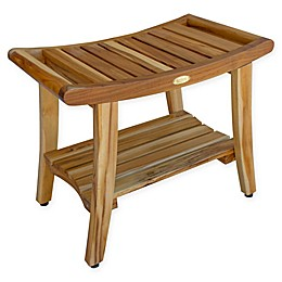 EcoDecors® Harmony™ 24-Inch Teak Bench with Shelf and LiftAide™ Arms