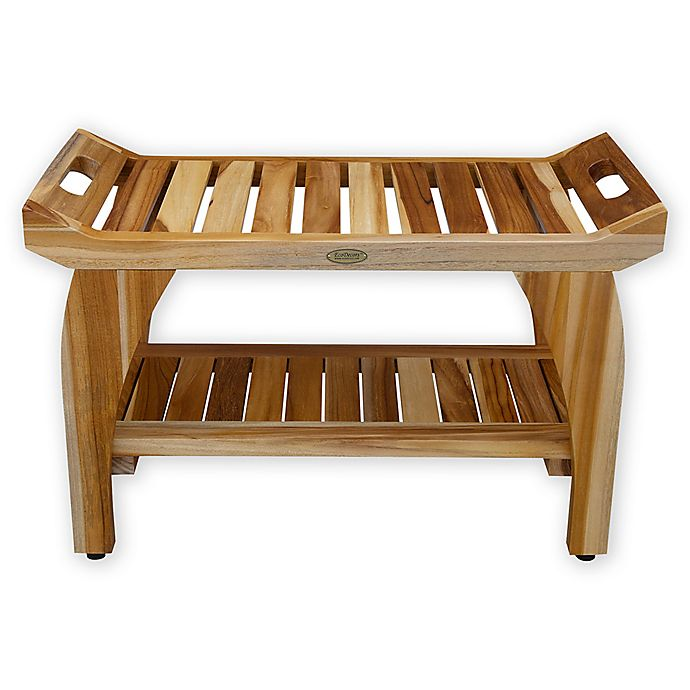 Peachy Ecodecors Earthyteak Tranquility 30 Inch Bench With Shelf Andrewgaddart Wooden Chair Designs For Living Room Andrewgaddartcom