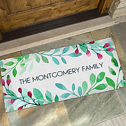 Spring Floral Personalized 24-Inch x 48-Inch Oversized Doormat