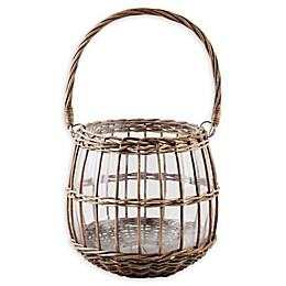 Bee & Willow™ Glass and Rattan Lantern in Brown