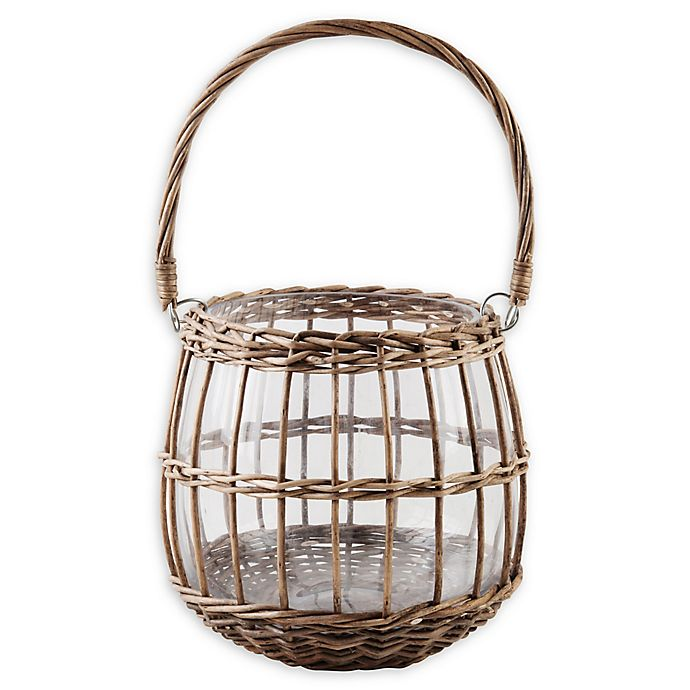 Alternate image 1 for Bee & Willow™ Glass and Rattan Lantern in Brown