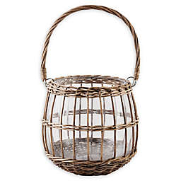 Bee & Willow™ Small Glass and Rattan Lantern in Brown