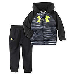 Under Armour® 2-Piece Edge Stripe Track Hoodie and Pant Set in Black