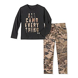 Under Armour® Size 9-12M 2-Piece Camo Everything Shirt and Pant Set in Black