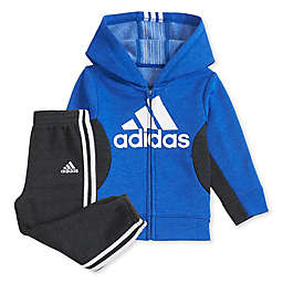 adidas® 2-Piece Fleece Hooded Jacket and Jogger Set in Royal Blue