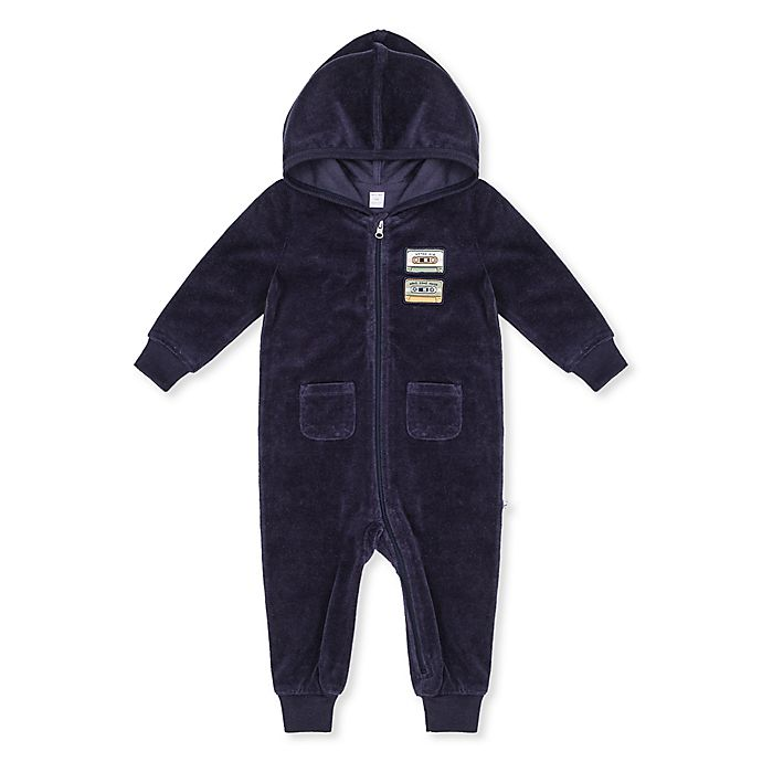 Alternate image 1 for Petit Lem® Ribbed Hooded Coverall in Blue