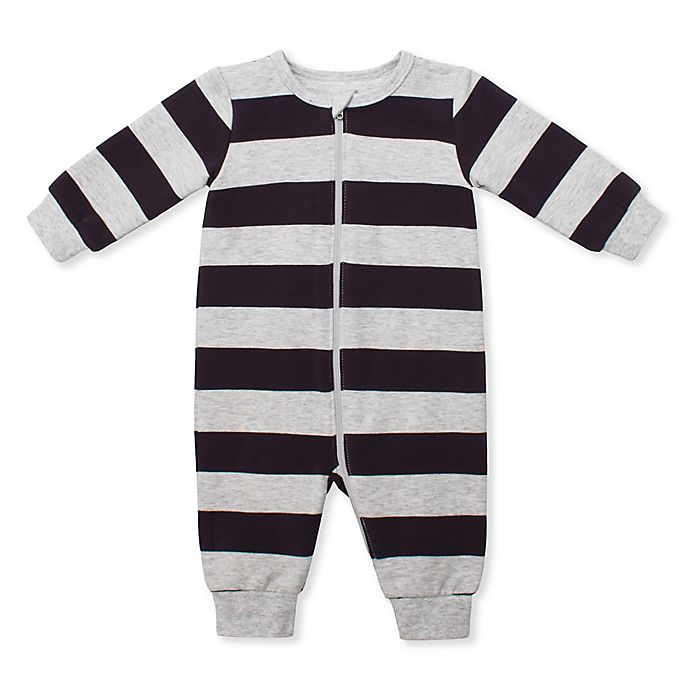 Alternate image 1 for Petit Lem Striped Organic Cotton Coverall in Grey