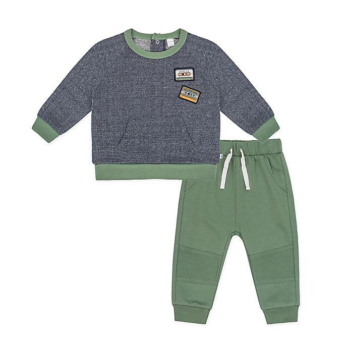 Alternate image 1 for Petit Lem® 2-Piece Sweatshirt and Pant Set in Green/Grey